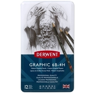Picture of DERWENT GRAPHIC PENCILS MEDIUM TIN 12 SET 6B-4H