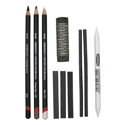 Picture of DERWENT CHARCOAL PENCIL SET 10 PCS