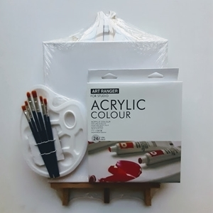 Picture of ART ADDICTS ACRYLIC STARTER 24 PAINT & EASEL KIT LARGE