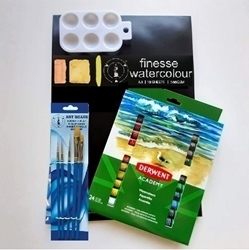 Picture of ART ADDICTS WATERCOLOUR ACADEMY STARTER 24 PAINT & PAD KIT LARGE