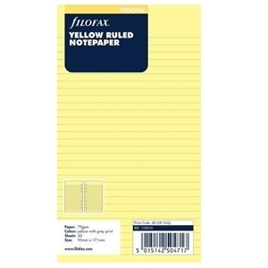 FILOFAX UNDATED A5 YELLOW RULED NOTEPAPER