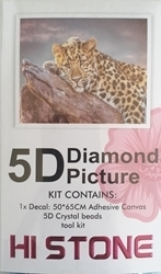 DIAMOND DOT ART LEOPARD ON A ROCK 50X65
