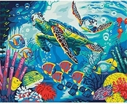 PAINTING BY NUMBERS OCEAN TURTLE 50X40