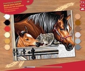 PAINT BY NO.SENIOR HORSE FOAL AND CAT