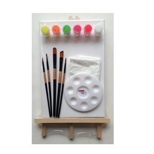 ART ADDICTS CRAFT ACRYLIC 6 NEON PAINT & EASEL KIT SMALL WITH FREE PLASTIC APRON