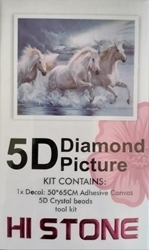 Picture of DIAMOND DOT ART WHITE HORSES IN THE SURF 50X65