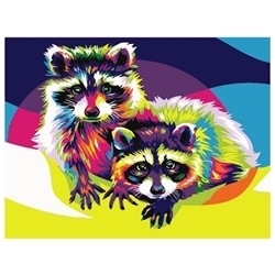 PAINTING BY NUMBERS RACOONS 30X40
